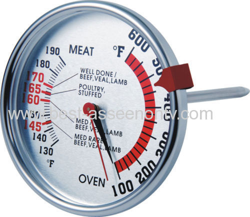 Dual Meat and Oven Thermometer with Silicone Grip - Includes USDA food chartt