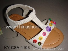 White pu sandal with flowers,beads and stitching around insole, girl sandal