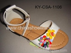 White pu sandal with flowers,colorful beads and stitching around insole, girl sandal