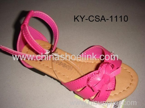 Pink pu sandal with flowers,diamonds and stitching around insole, girl sandal