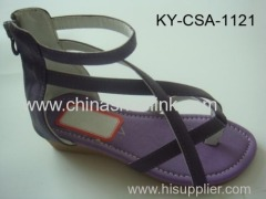 Purple pu sandal with zipper and stitching around insole, girl sandal