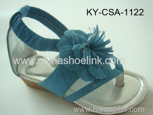 Blue pu sandal with flowers,beads and stitching around insole, girl sandal