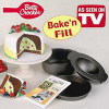 Betty Crocker Cake Mold Bake n' Fill Mini Size 4 Piece Steam Pudding Locking Cake Pan Set NonStick