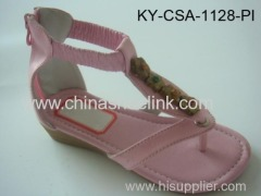 Pink pu sandal with flowers,diamonds,buttons and stitching around insole, girl sandal