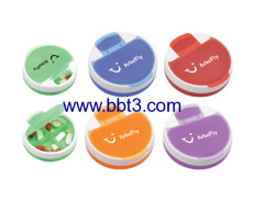 Promotional round shape plastic daily pill box