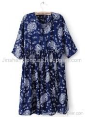 Blue Half Sleeve Tight High Waist Pleated Dress