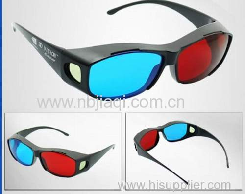 Red bule plastic Myopia general S3D glasses/High quality anaglyph 3D glasses for movie