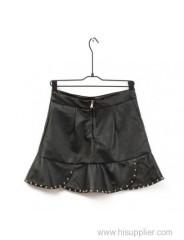 Black Rivet Stack Leather Short Skirt