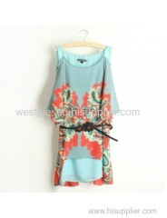 Acid Blue Off-Shoulder Half Sleeve Phoenix Printed Dress