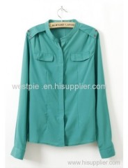 Green Long Sleeve Round Neck Buckle Shoulder Chiffon Blouse