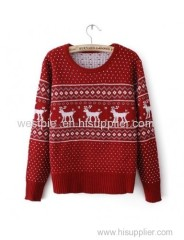 Red Long Sleeve Round Neck Fawn Pullover Sweater