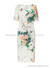 White Short Sleeve Peony and Bird Printed Cheongsam Dress