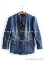 Blue Nine Point Puff Sleeve Draped Denim Jacket