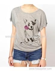 Grey Short Sleeve Bowknot Dog Printed T-Shirt