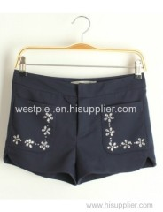 Dark Blue Double Pockets Diamante Short Pants