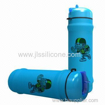 Fashionable and easily pack silicone sports water bottle
