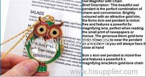 Owl pendant necklace magnifyingglass/magnifying glass owl design, with necklace