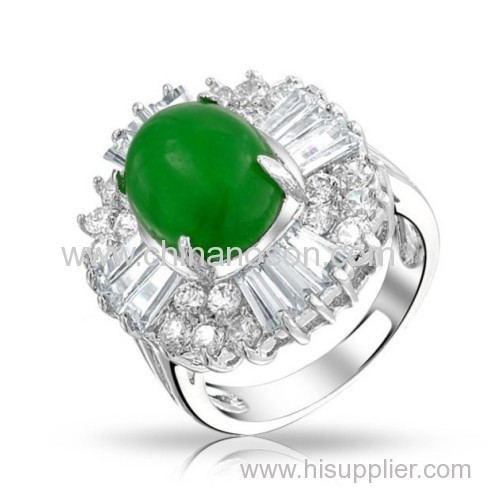 Fashion oval jade ring with CZ stones