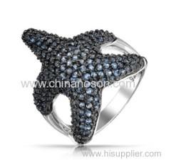 Starfish Ring with sapphire CZ stones