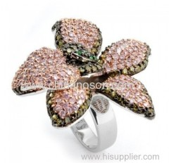 Pink flower ring with CZ stones