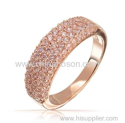 Pink CZ ring with rose glod plaring