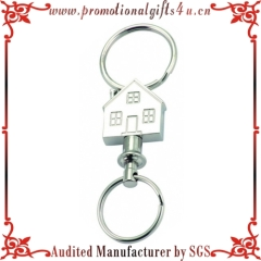 Quick Release Side Slide Pull Apart Key Accessory with 2 Split Rings (House Shaped Keychain)