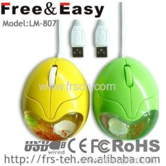 wired egg shape usb computer liquid mouse