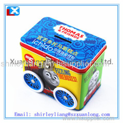 tin coin bank box with lock