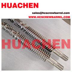 Conical bimetallic screw barrel