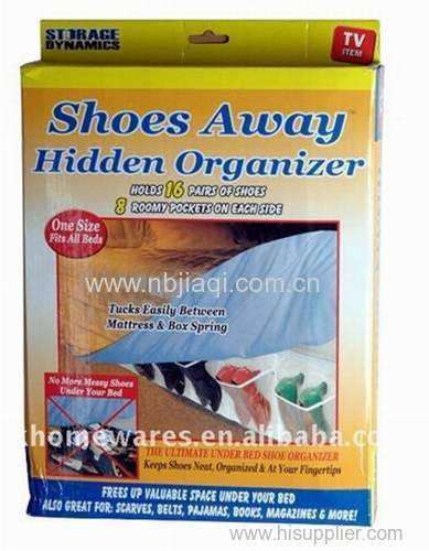 shoe organizing bed skirt shoes away hanging bed storage/Storage Dynamics Shoes Away Hidden Organizer