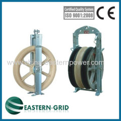 overhead power line transmission conductor stringing block