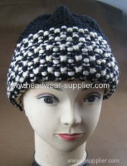 WINTER HEAVY WARM HAND HAT WITH TWO SMALL POMPON ON THE TOP
