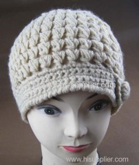 KNITTED HAND CROCHET BEANIE WITH BOTTON