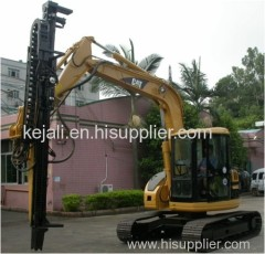 Excavator attached drill rig