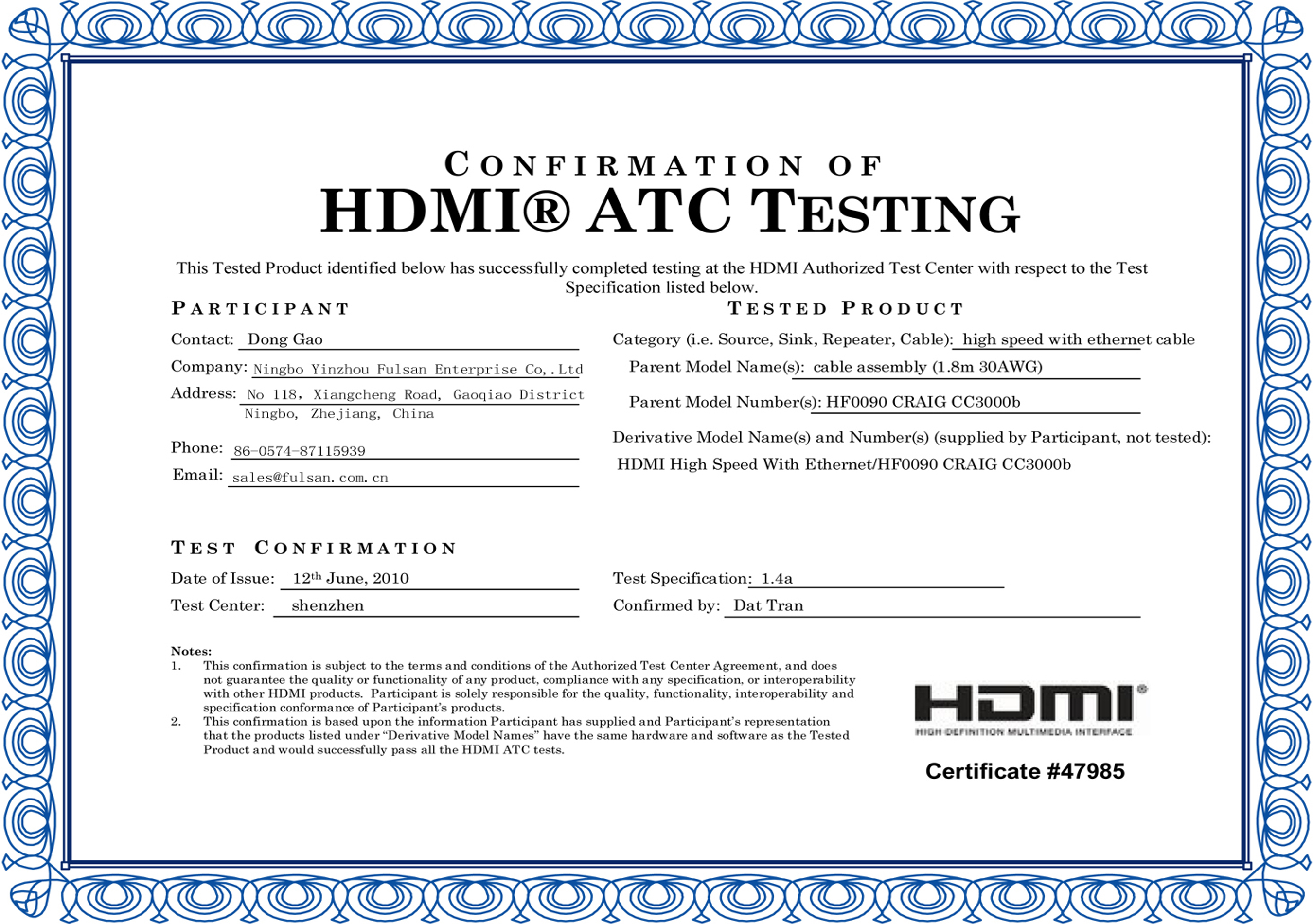 HDMI CABLE Certificate