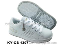 China skateboard shoe full white school shoes