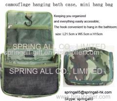Camouflage mini travel bag, hanging bath case,