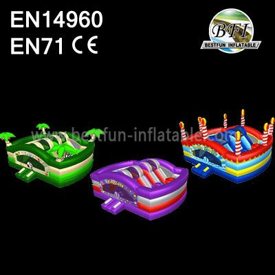 Colorful Inflatable Slide Bouncer Combo