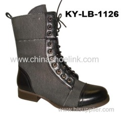 High cut Boots with flat rubber sole , lady boots (KY-LB-1126)