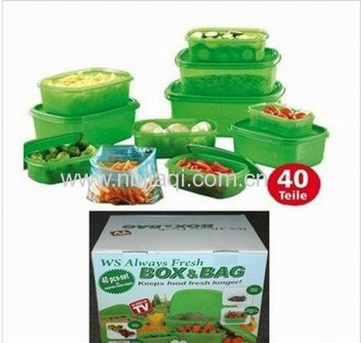 Stay Fresh Green Container/Plastic always fresh green food storage containers with bags