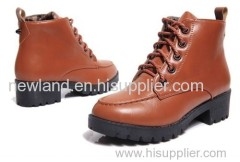 lady cow leather/PU lacing up ankle boots