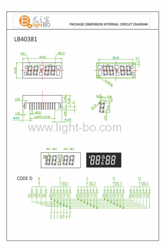 Green Oven Timer LED Display,4-Digit 0.387 segment with pacakge dimensions 44 x 16 mm