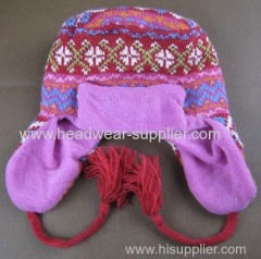 BABY JACQUARD EARFLAP AND ROOF HAT WITH THE BRIM ON THE FRONT
