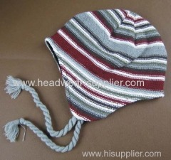 STRIPE CHILDREN HAT WITH EARFLAP AND LINING