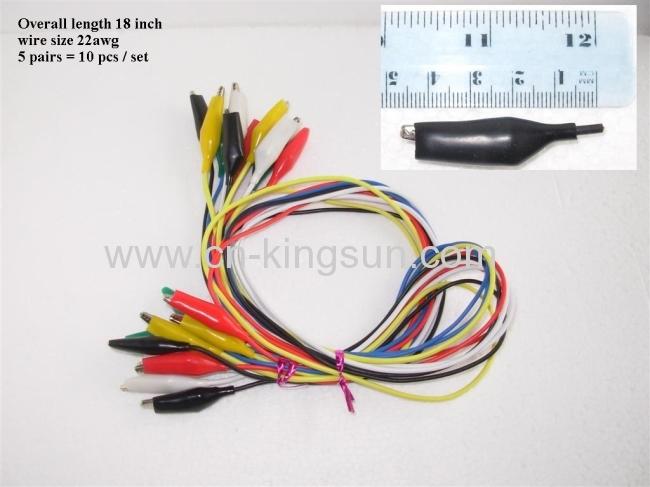10PCS Test Leads Set Alligator Crocodile Connector Clip Colour Wire Lead 40CM