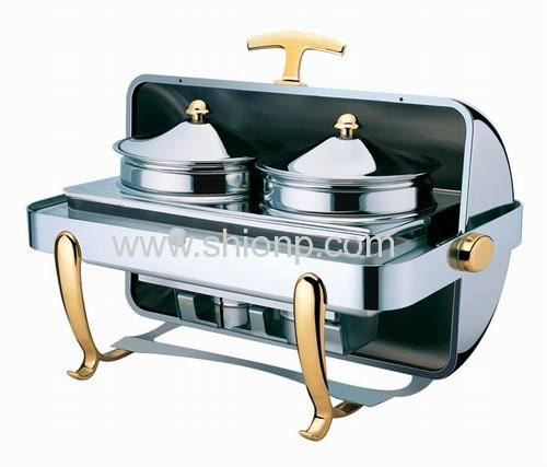 Oblong soup station with gold plated leg