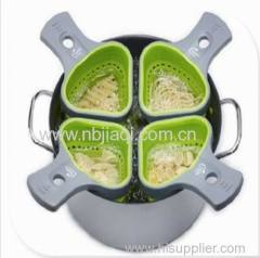 silicone Portion Control Pasta Baskets/Food grade Silicone noodle pasta basket with plastic handle