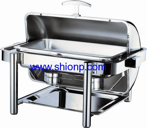 Oblong chafing dish with golden color leg