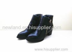 black low heels boots with zipper closing