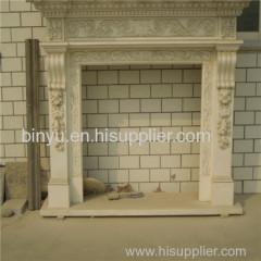 white decorate stone fireplace
